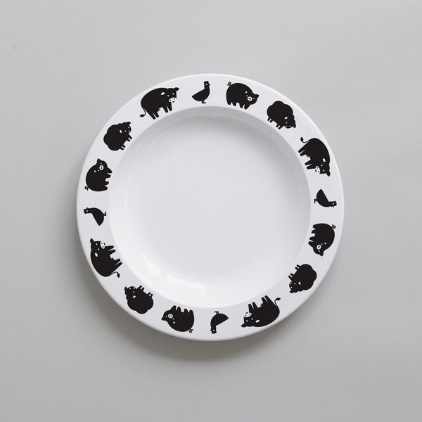 Plate Farm Animals – white