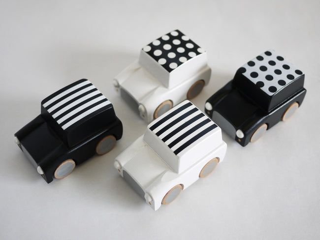 Wooden Wind Up Car - Kiko+ - white/black dots