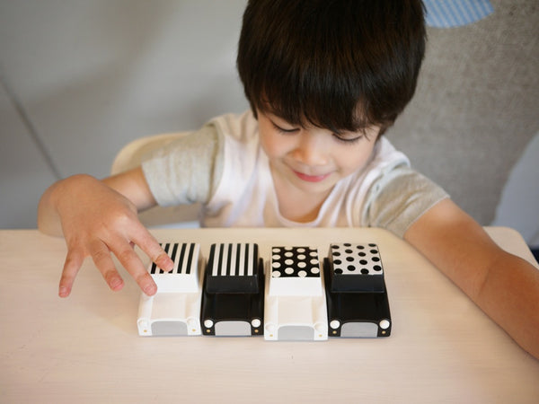 Wooden Wind Up Car - Kiko+ - black/white stripes