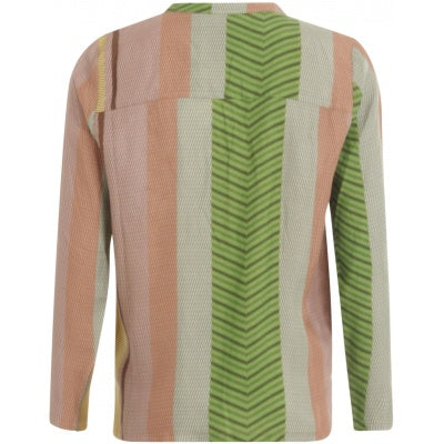 Blouse w. long sleeves in stroke print