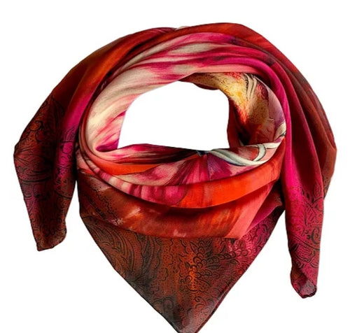 Bauhinia Small Luxury Silk Scarf