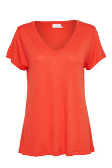 Anna V-neck Tee - Orange maple