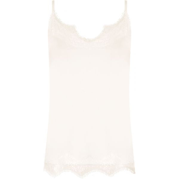 Off- white lace strap top