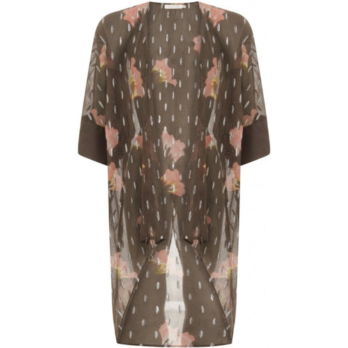 Kimono in sky print w. lurex and tied closing - Grey plum