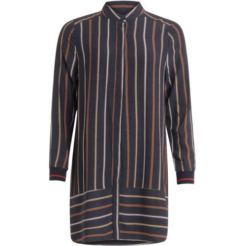Long shirt in stripe print - Dark Blue