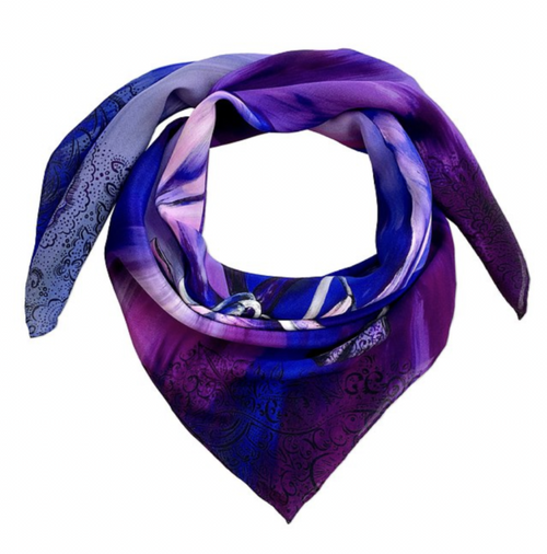 Bauhinia Indigo Luxury Medium Silk Scarf