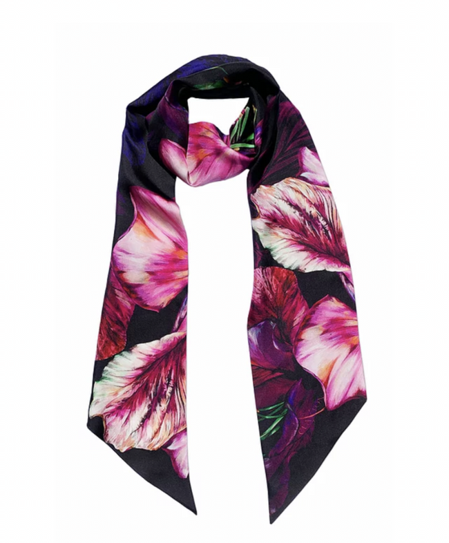 'Ebony Bright' Skinny Luxury Silk Twill Scarf