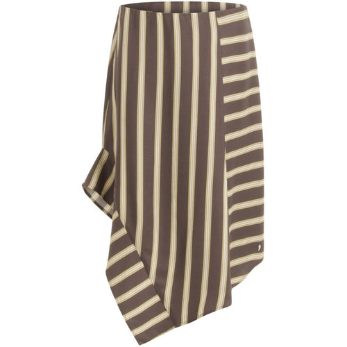 Skirt in jacquard stripes w. asymmetrical cut - Grey plum stripe