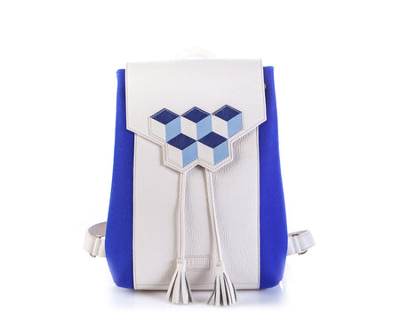 Blue Cubic Leather Flap