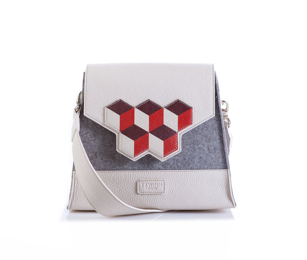 Jennifer Shoulder Bag - Red Cubic