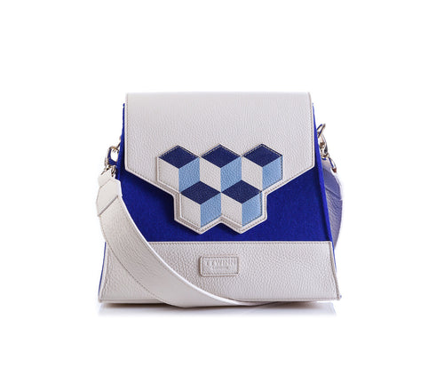 Jennifer Shoulder Bag - Blue Cubic