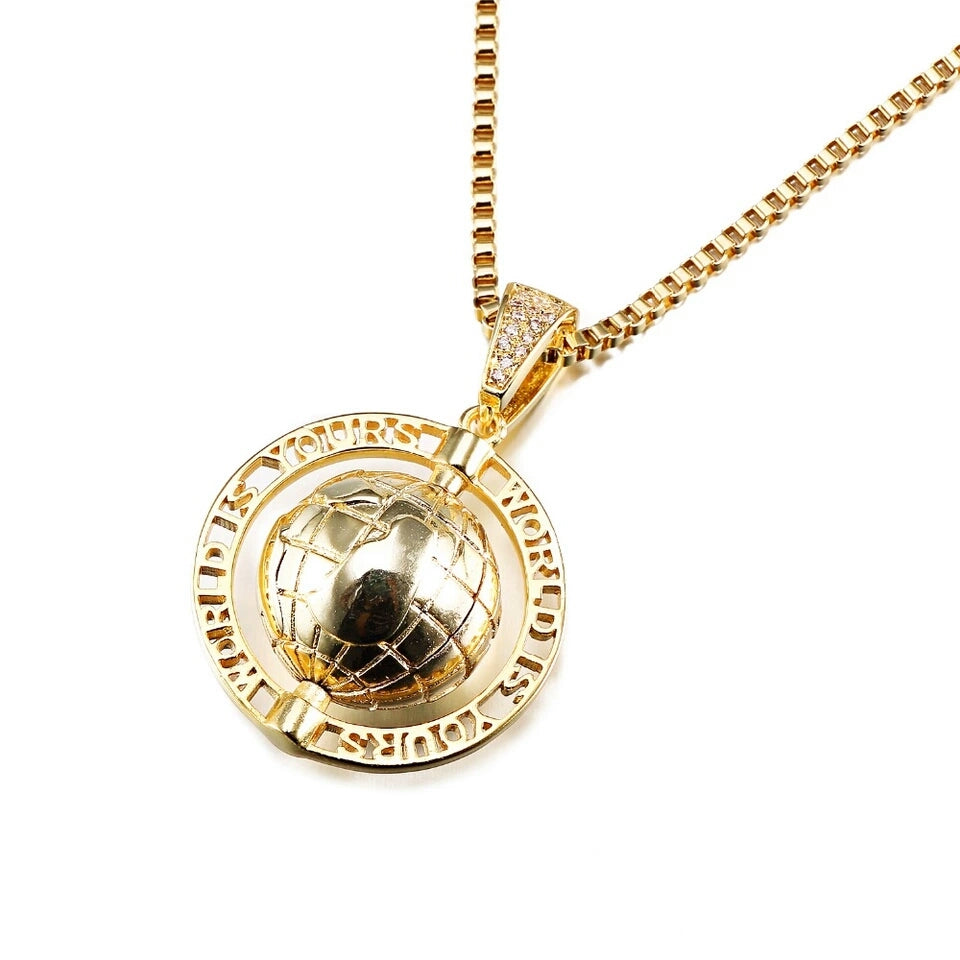 "14k Gold The World Is Yours Scarface Pendant Genuine Diamond Simulate Stones With 24"" Chain"
