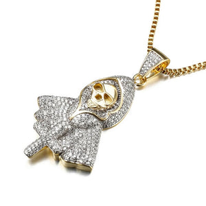 18k Gold Iced Grim Reaper Pendant Genuine Cz With Chain