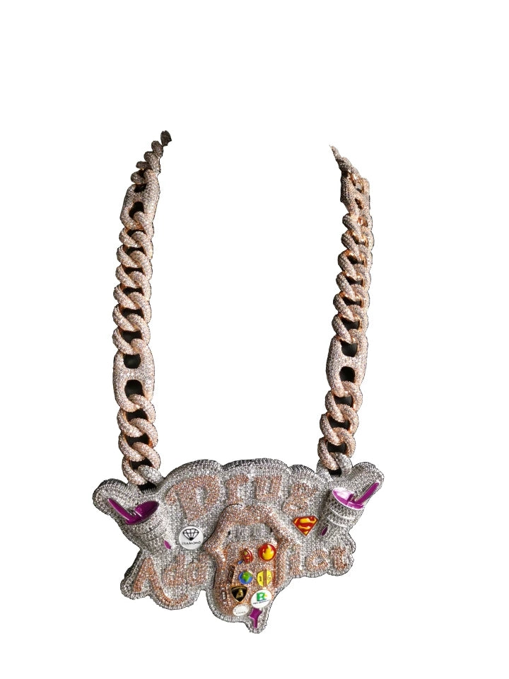 "Platinum Fully Iced Lil Pump Tribute Addict Pendant Genuine Diamond Simulate Stones with 22"" Fully Iced Cuban link Chain"