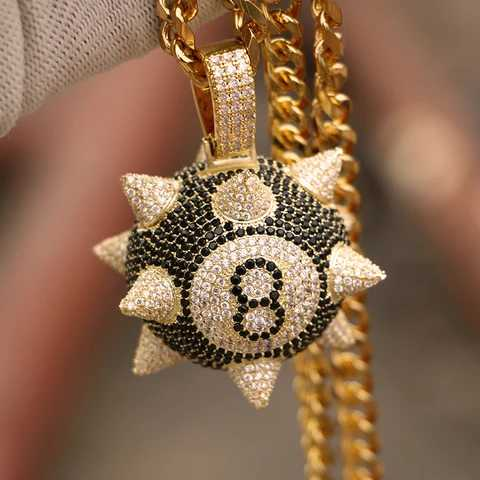 "Fully Iced 14k Gold 8-ball Spiked Pendant Genuine Handset Diamond Simulate Stones with 30"" Cuban Chain"