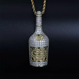 "14k Gold Iced Henessee Cognac Bottle Pendant Genuine Diamond Simulate Stones with 24"" Rope Chain"