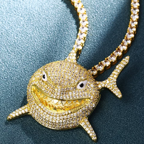 "14k Gold/Platinum Fully Iced 6ix9ine Tribute Sharky Pendant Genuine Diamond Simulate Stones with 24"" Iced tennis Chain"