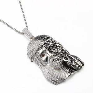 "Fully Iced Steam Punk Jesus Pendant Genuine Diamond Simulate Stones With 30"" Chain"