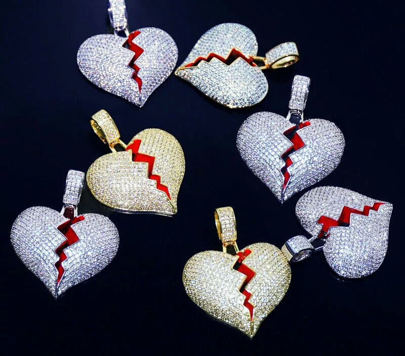 "Iced Heart Break Pendant Genuine Diamond Simulate Stones With 30"" 4mm Tennis Chain"