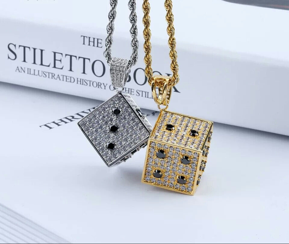 "Iced Dice Pendant Genuine Diamond Simulate Stones With 24"" Chain"