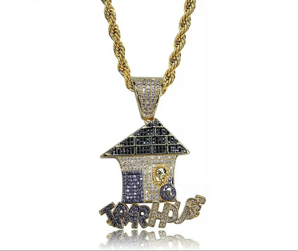 "14k Gold Iced Trap House Pendant Mice Pave Genuine Diamond Simulate Stones With 30"" Rope Chain"