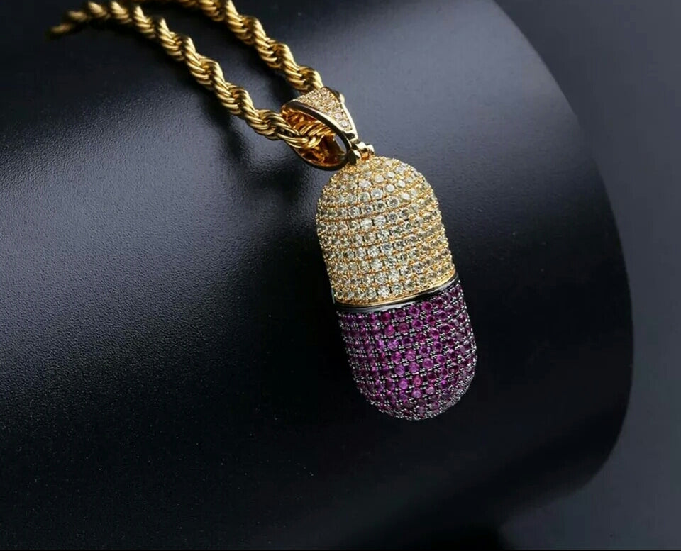 "14k Gold Iced Pill Hidden Stash Pendant Genuine Diamond Simulate Stones With 30"" Rope Chain"