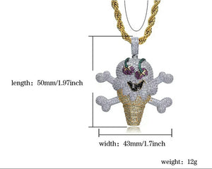 "18k Gold Iced Billionaire Ice Cream Pendant Genuine Diamond Simulate Stones With 30"" Rope Chain"
