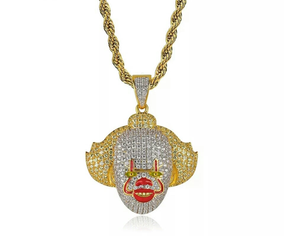 "14k Gold Fully Iced Penny Wise Clown Pendant Genuine Diamond Simulate Stones With 30"" Rope Chain +Free Gift"