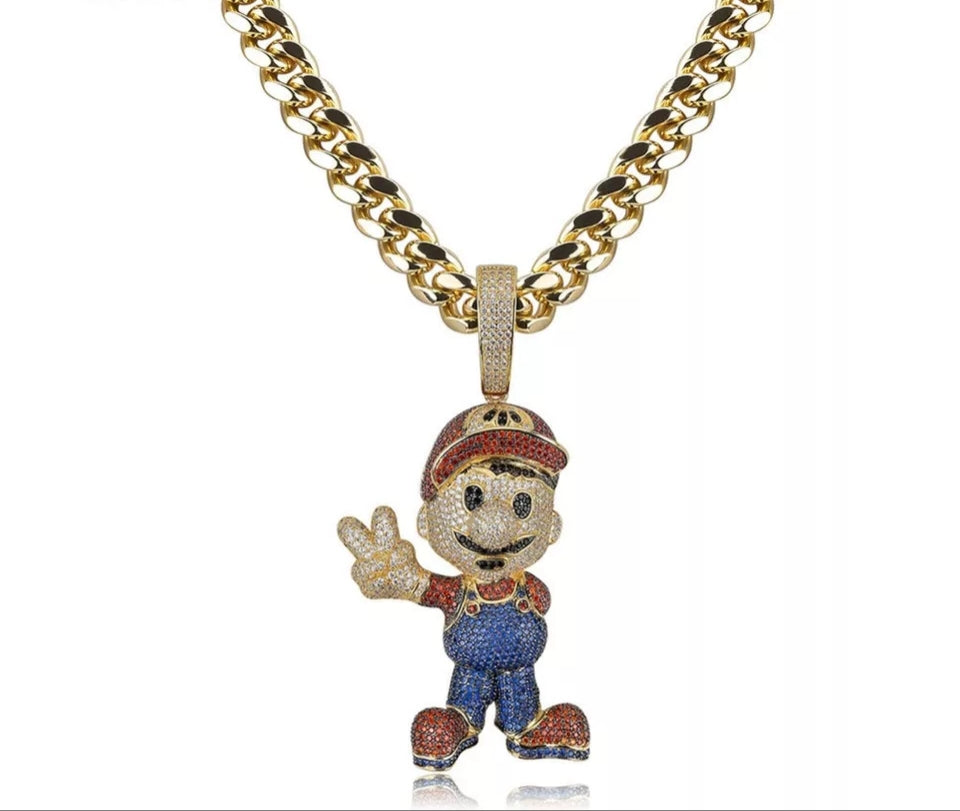 "14k Gold Fully Iced Mario Pendant Genuine Diamond Simulate Stones With 30"" Cuban Link Chain"