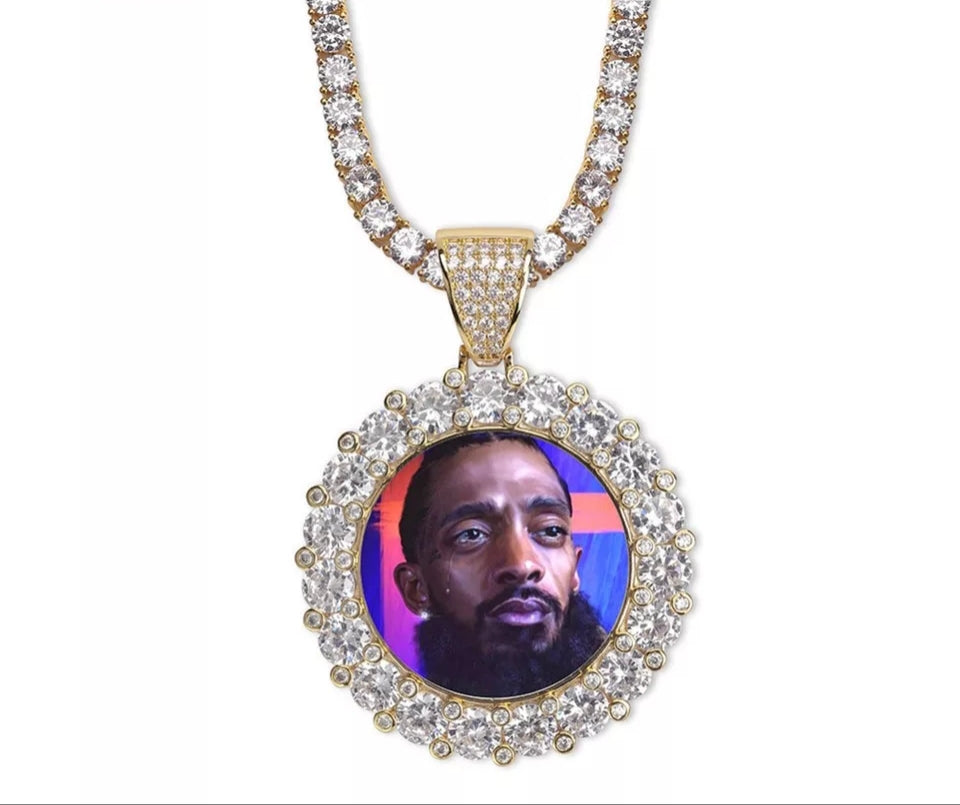 "Fully Iced Nipsey Hussle RIP Pendant Genuine Diamond Simulate Stones with 24"" Iced Out Tennis Chain"