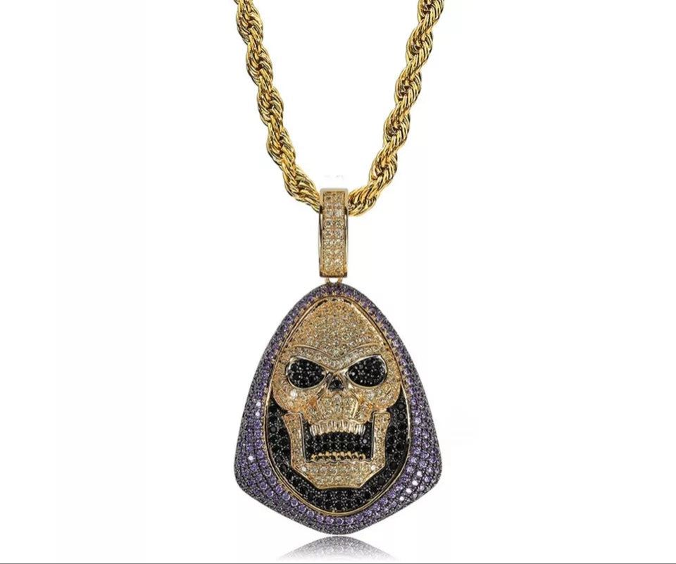 "14k Gold Iced Skeletor Pendant Genuine Multi colored Diamond Simualte Stones With 30"" Rope Chain"
