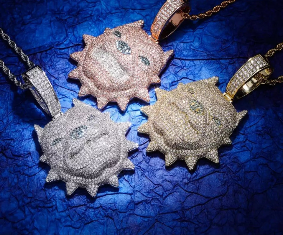 "Fully Iced Pitbull Pendant Micro Pave Genuine Handset AAA Certified CZ Stones With 30"" Rope Chain"