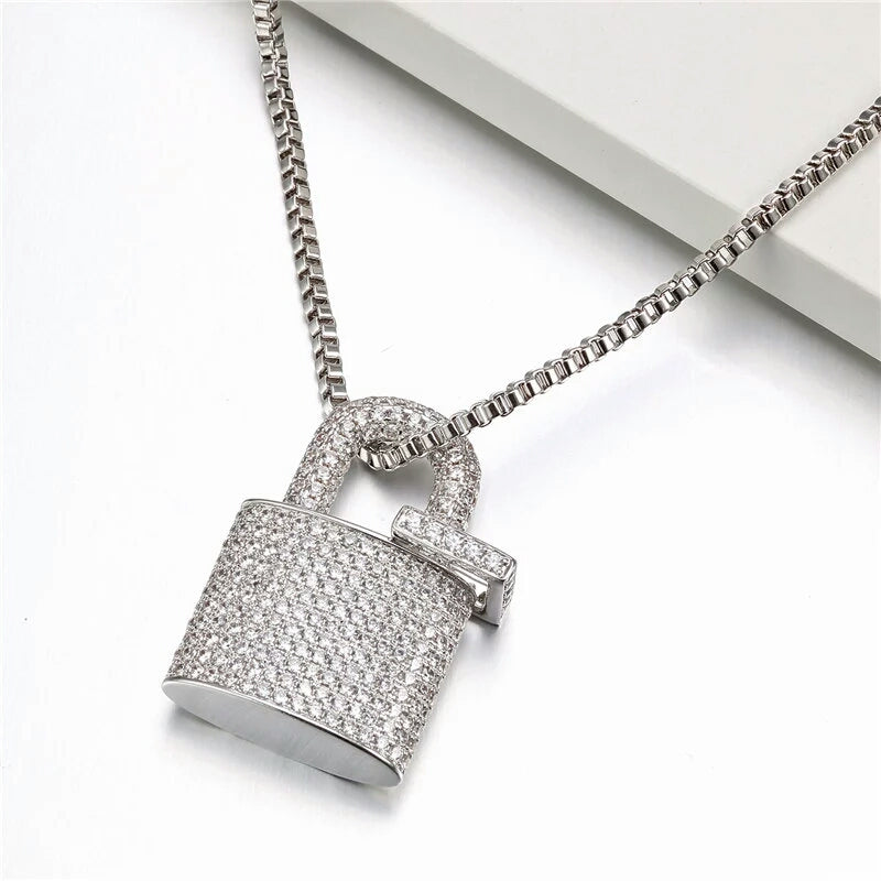 14k Iced Padlock Pendant Genuine Cz With Chain