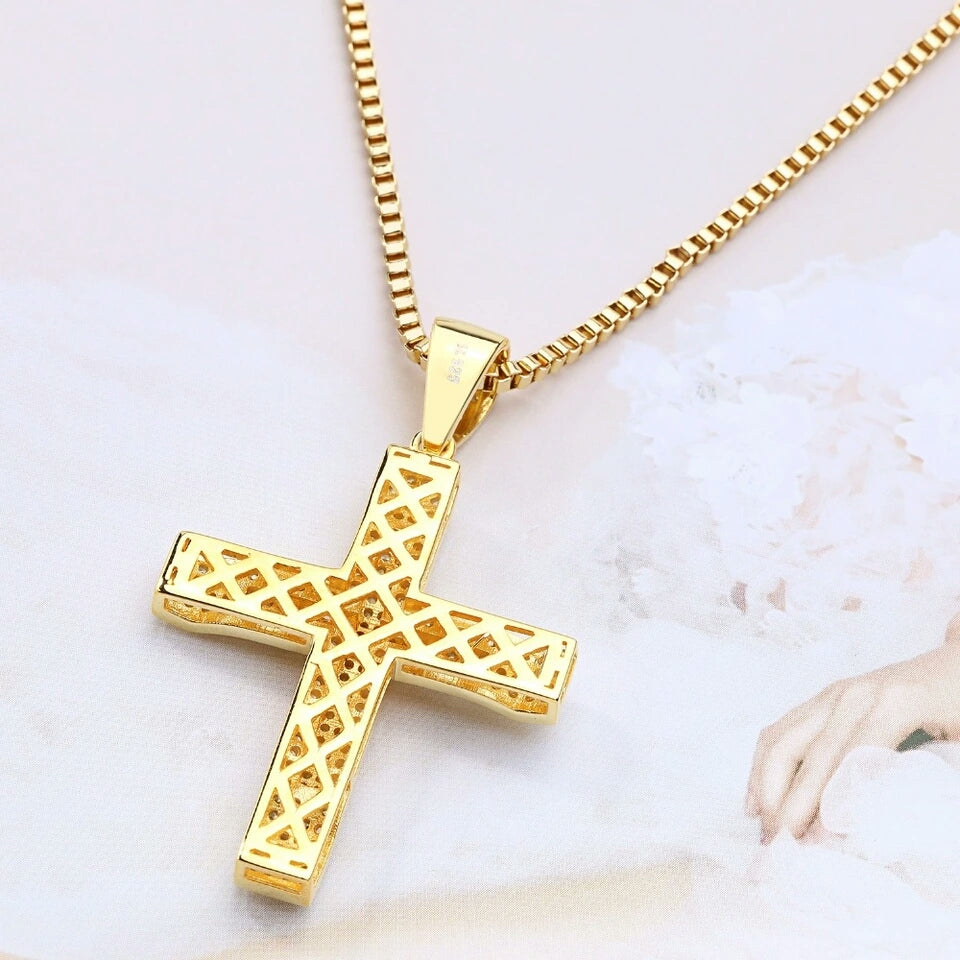 "14k Gold Iced Cross Pendant Genuine Diamond Simulate Stones With 24"" Chain"