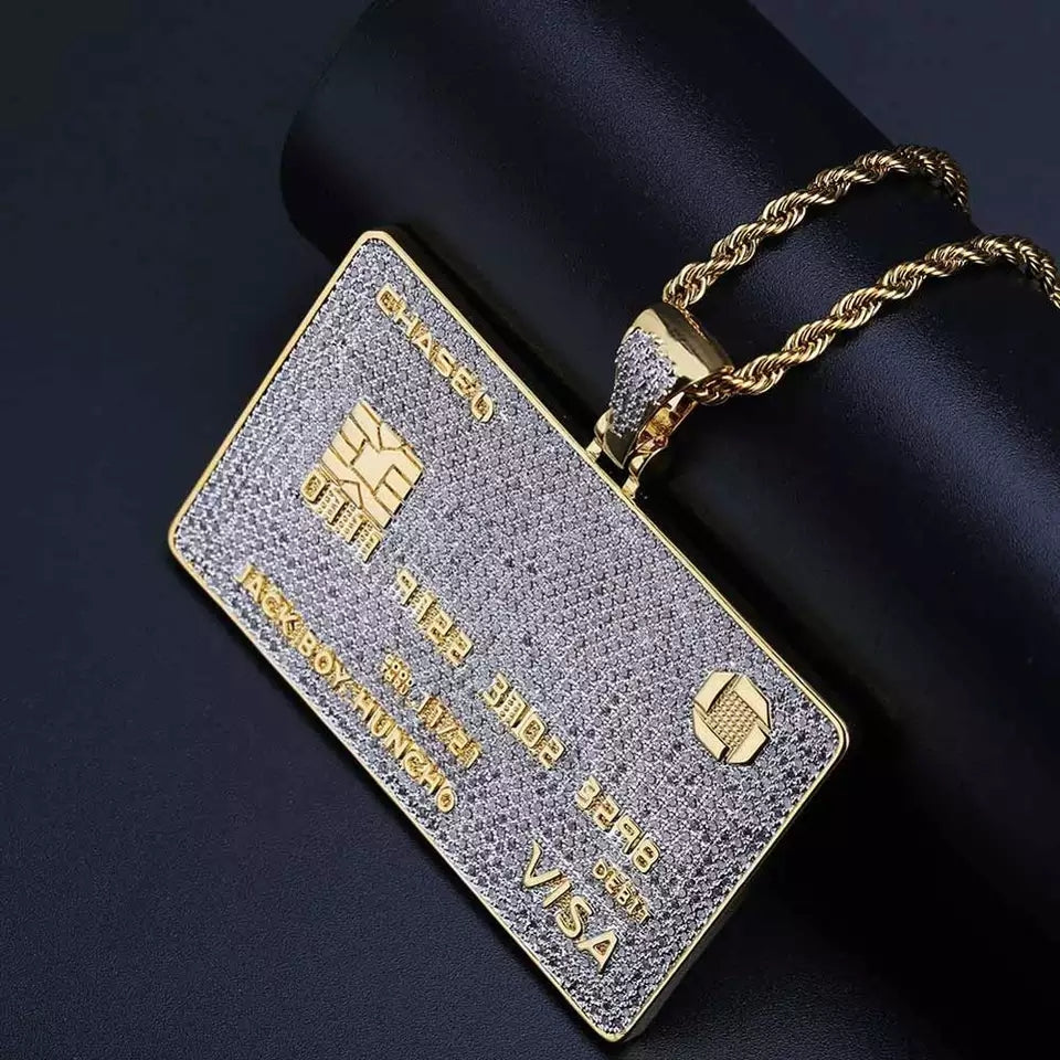 Custom Name 14k Gold Iced Chase Debit Card Pendant Genuine Diamond Simulate Stones Micro Pave With Rope Chain