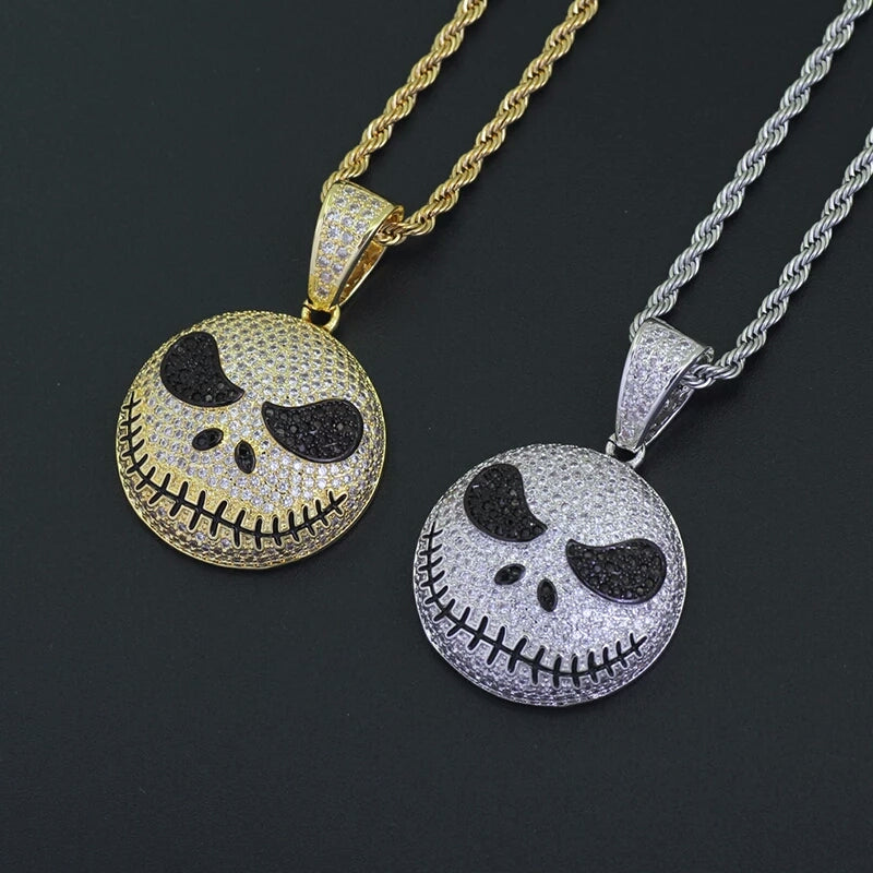 "Fully Iced Nightmare Before Christmas Jack Pendant With 30"" Rope Chain"