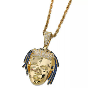 "X RIP Iced Pendant Genuine Diamond Simulate Stones With 30"" Rope Chain"
