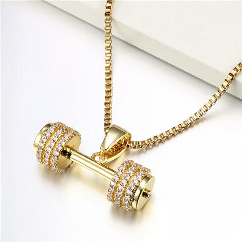 "14k Gold Iced Dumbell Pendant Genuine Diamond Simulate Stones With 24"" Chain"