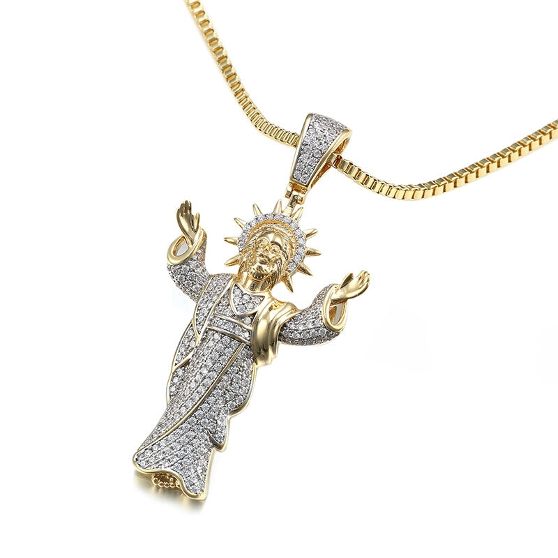18k Gold Iced Jesus Genuine Cz With Chain