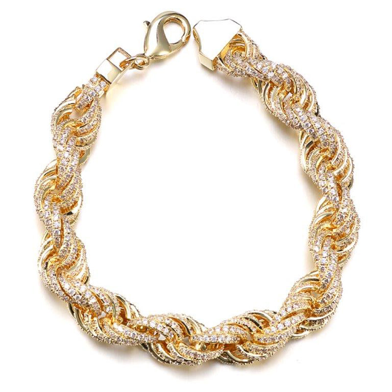 14k Gold Iced Rope Bracelet Genuine Diamond Simulate Stones