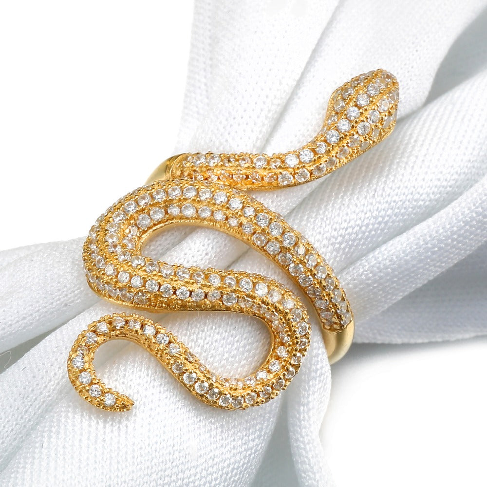 ICE LIFE Womens Solid .925 Silver 14k Gold Wrapped Snake Ring Genuine Cz