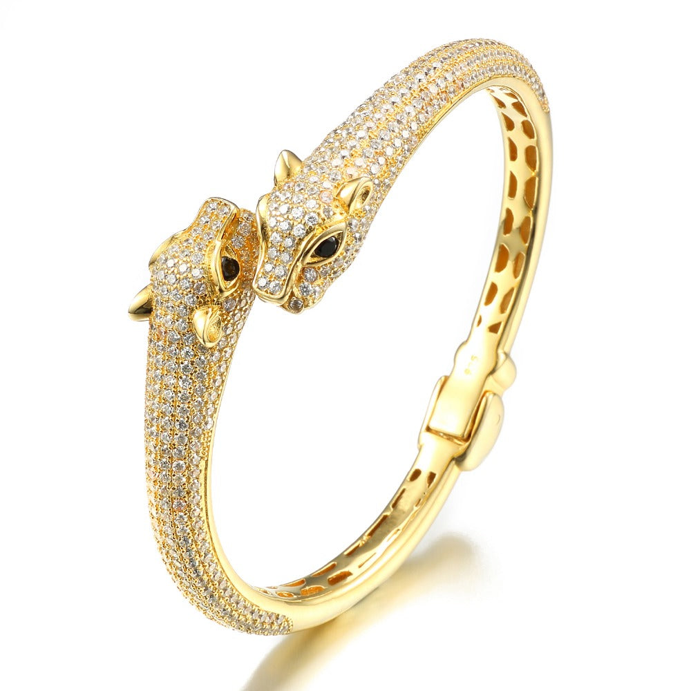 18k Gold/.925 Sterling Silver Iced Panther Bracelet Genuine Cz