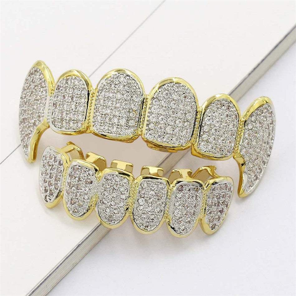 18k Gold Top And Bottom Fang Grillz Set Genuine Cz Stones With Fiitting Bar