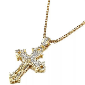 "14k Gold Iced Cross Pendant Genuine Diamond Simulate Stones With 30""chain"