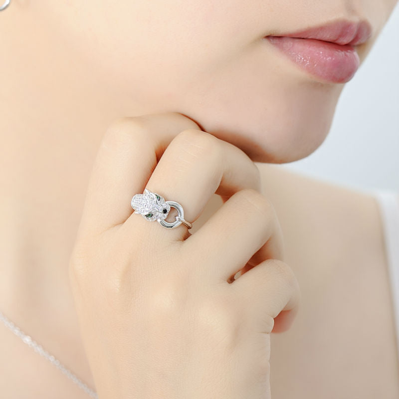 ICE LIFE Iced Panther Ring Pure .925 Sterling Silver Genuine Cubic Zirconia