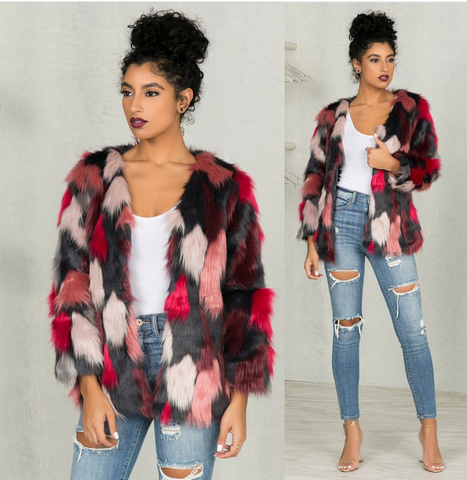 Live in color faux fur coat