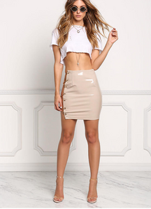 Wild thoughts chain latex skirt