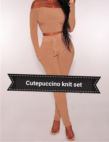 Cutepuccino knit set in mocha