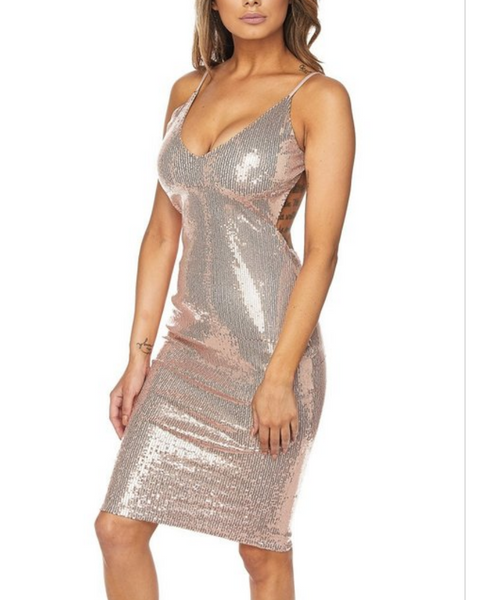 Dipped low in sequin midi dress