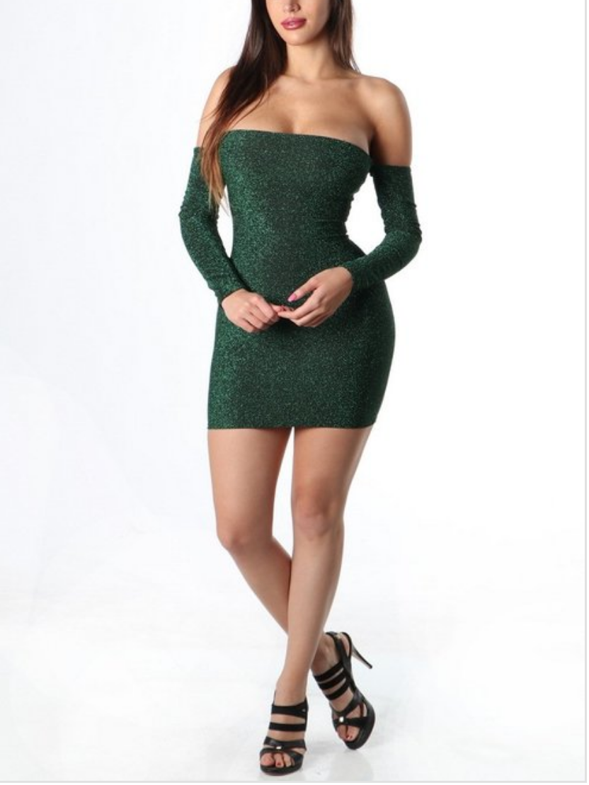 Greener pastures glitter mini dress